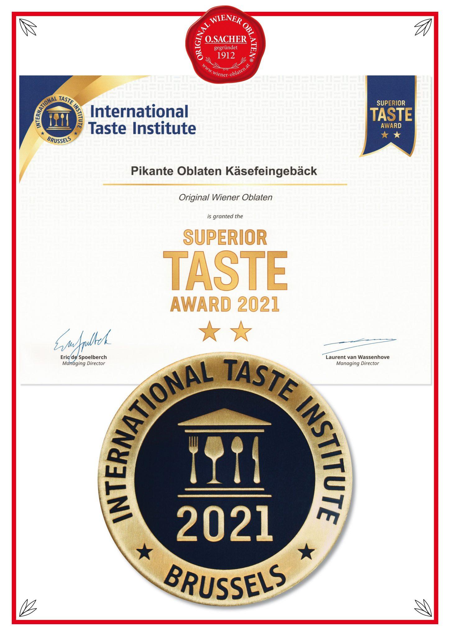 Super TASTE Award 2021 Pikante Oblaten Käsefeingebäck